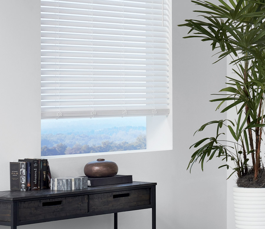 white faux wood blinds in Reno NV living room