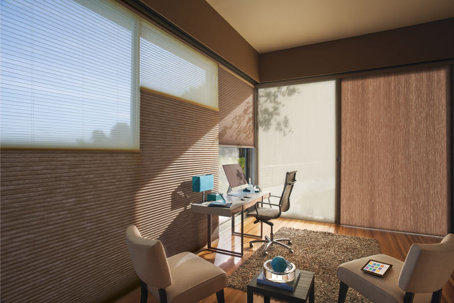 Dual honeycomb shades on sliding doors for balanced light in Incline Village