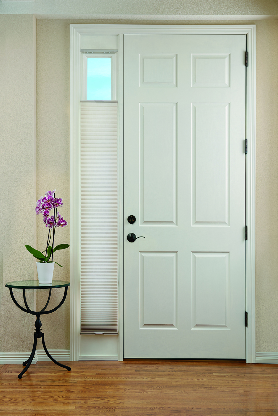 honeycomb shades cover entry door sidelights