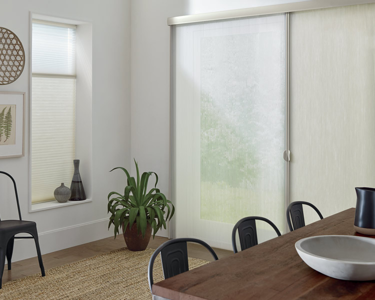 cellular shades as sliding glass door window treatments in Reno NV home