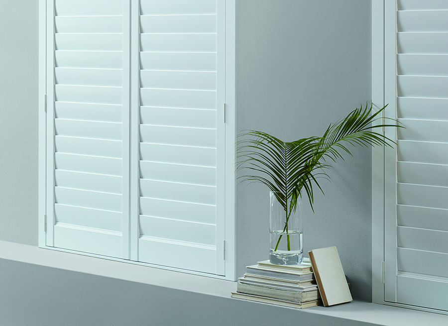 White interior plantation shutters.