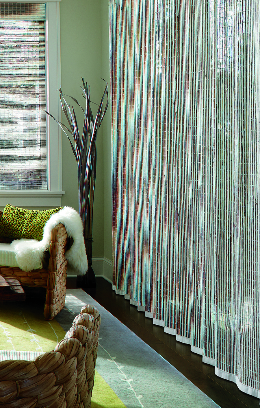covering doors with woven woods in Reno home