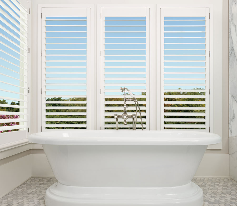 shutters with louvers open in bathroom of reno NV home