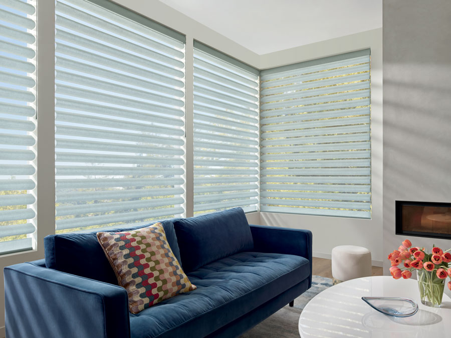 corner window with shades in reno NV living room