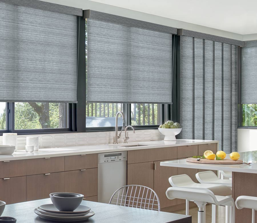 gray roller shades and sliding door coverings in Reno NV