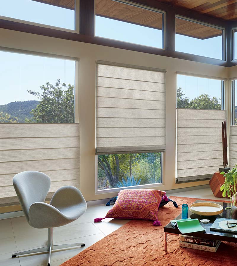 floor to ceiling windows in living room with woven shades in Incline Village NV
