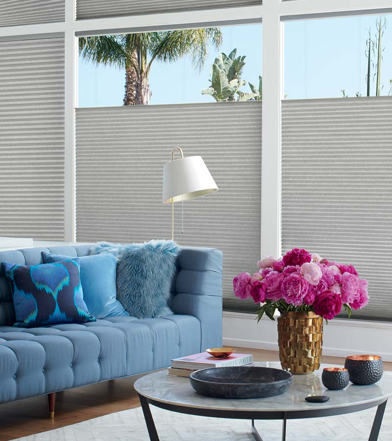 gray honeycomb shades in the top down position on large windows in Incline Village NV