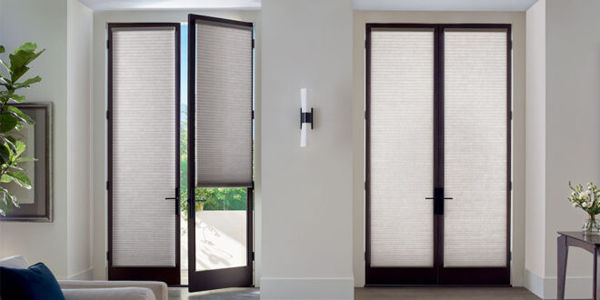 double set of french doors with custom shades in Reno NV