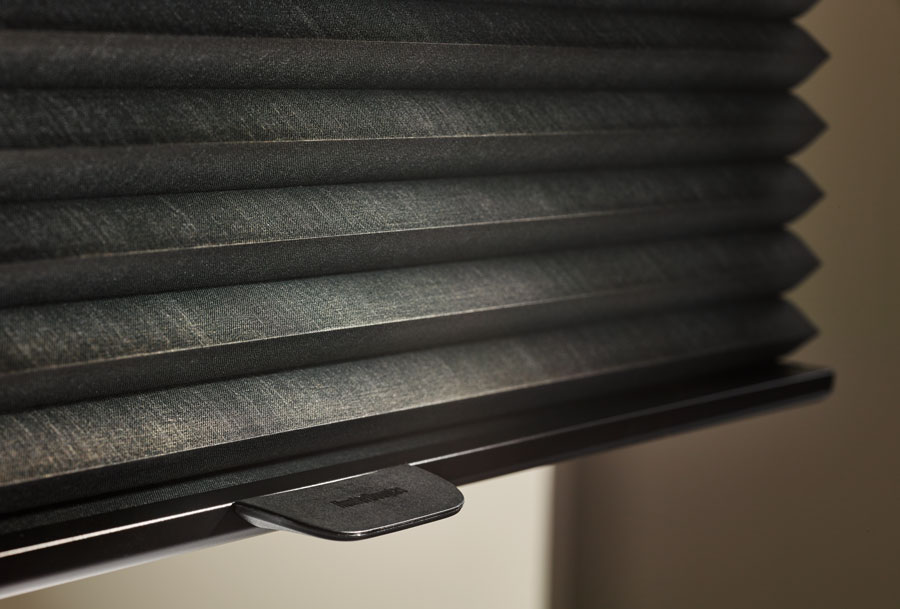 black cellular shades with literise lift