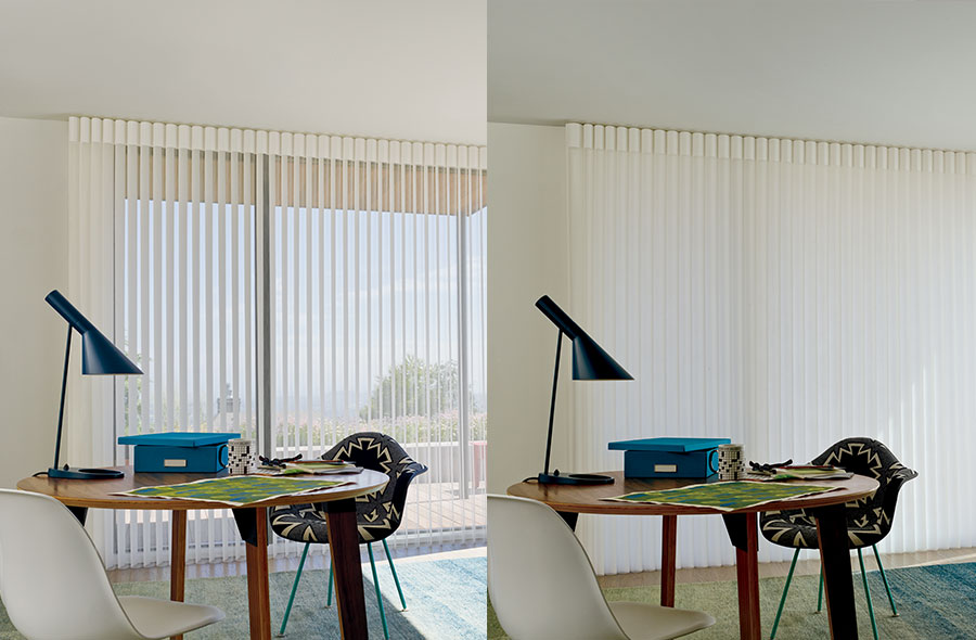 sheer vertical window coverings that can block light in home office in Reno NV