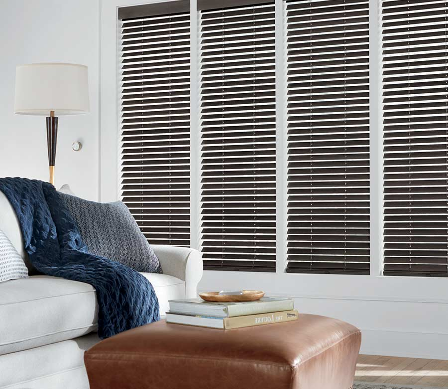 white living room with brown wood blinds in reno, nv