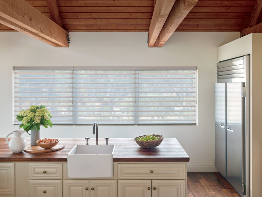 kitchen neutral with wand motorized shades