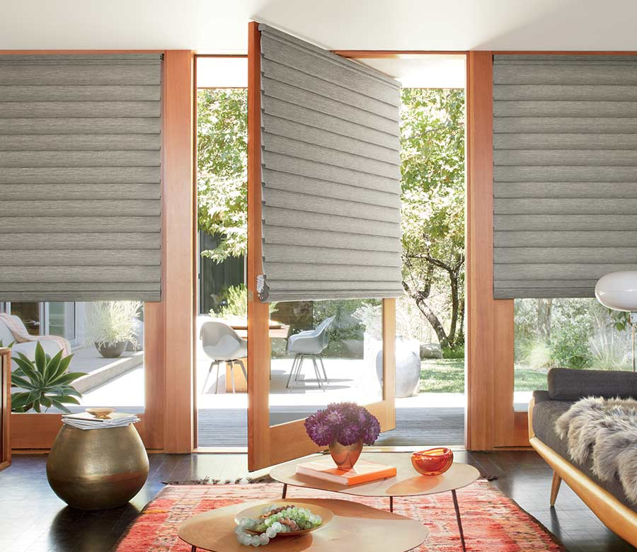 modern living room with hunter douglas vignette modern roman shade Reno