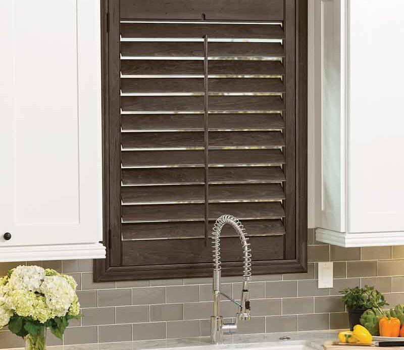 brown shutter over kitchen sink in modern Reno, NV home