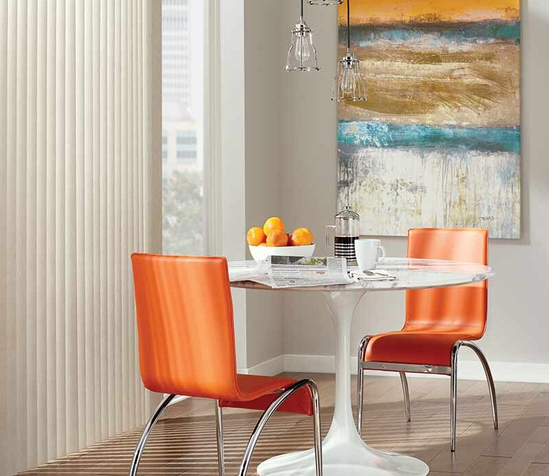 childsafe vertical window shades in modern orange dining room Incline Village, NV